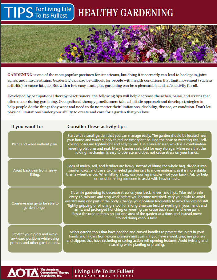 A screenshot of the gardening tip sheet